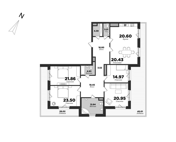 Privilegiya, 4 bedrooms, 212.19 m² | planning of elite apartments in St. Petersburg | М16