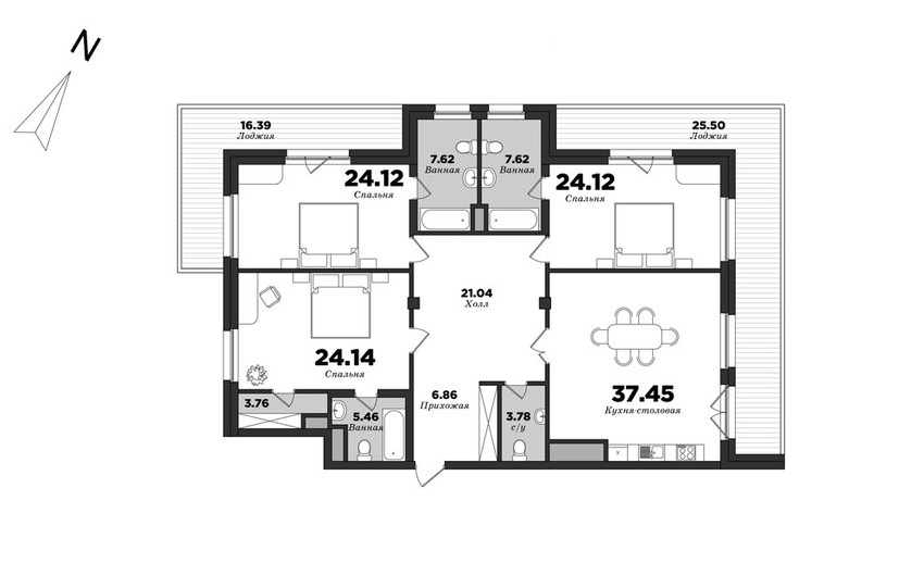 Privilegiya, 3 bedrooms, 180.92 m² | planning of elite apartments in St. Petersburg | М16
