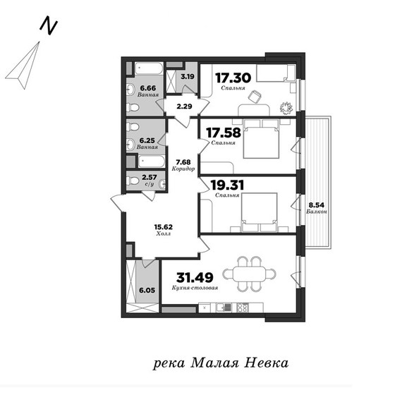 Privilegiya, 3 bedrooms, 138.55 m² | planning of elite apartments in St. Petersburg | М16