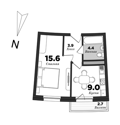 Premiere Palace, 1 bedroom, 35.6 m² | planning of elite apartments in St. Petersburg | М16