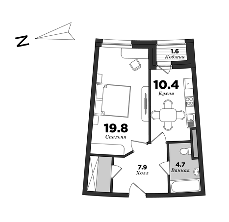 Premiere Palace, 1 bedroom, 47.4 m² | planning of elite apartments in St. Petersburg | М16