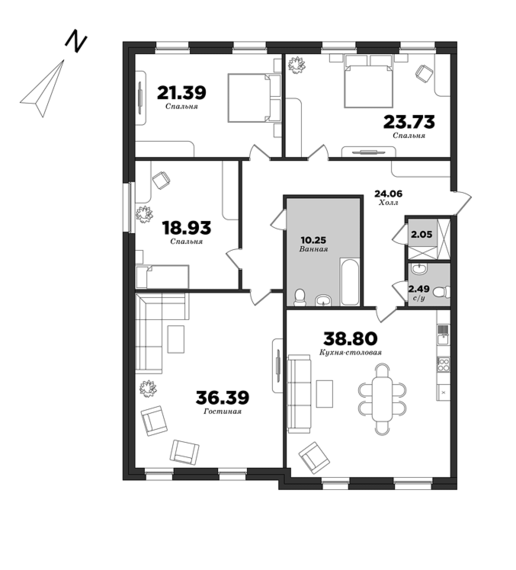 Granvil, 4 bedrooms, 178.08 m² | planning of elite apartments in St. Petersburg | М16