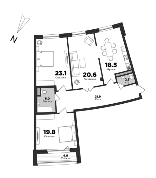 Premiere Palace, 3 bedrooms, 117 m² | planning of elite apartments in St. Petersburg | М16
