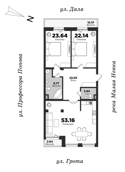 Dom na ulitse Grota, 2 bedrooms, 136.16 m² | planning of elite apartments in St. Petersburg | М16