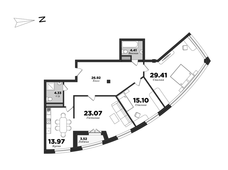 Premiere Palace, 3 bedrooms, 121.69 m² | planning of elite apartments in St. Petersburg | М16