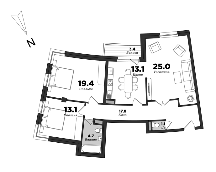 Premiere Palace, 3 bedrooms, 97.6 m² | planning of elite apartments in St. Petersburg | М16