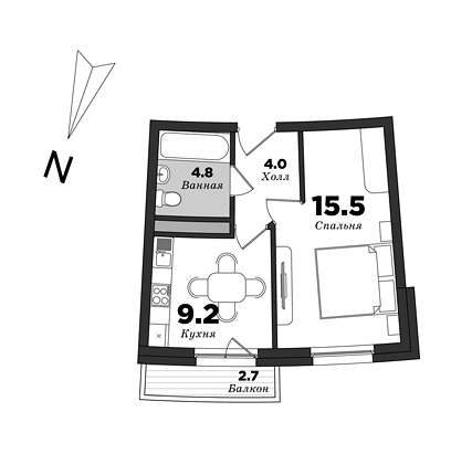 Premiere Palace, 1 bedroom, 36.2 m² | planning of elite apartments in St. Petersburg | М16