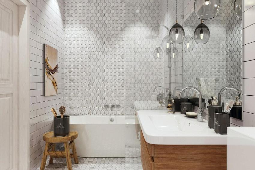 Стиль сканди в ванной сочетается с деревянными элементами интерьера