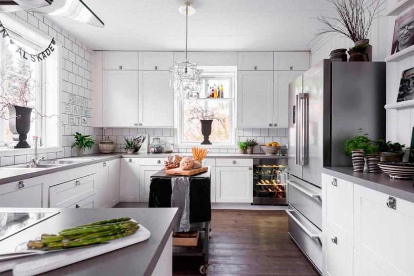 Скандинавский стиль в большой кухне